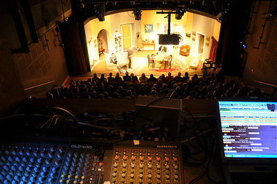 A performance as seen from the sound and lighting control room at the Mill Theatre