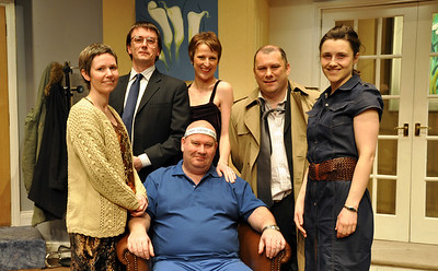 The cast of 'How The Other Half Loves' (l to r) Claire Reilly, Sean Murphy, Claire O'Donovan, Kevin Fahey, Orla Hegan and Brian Molloy (seated).