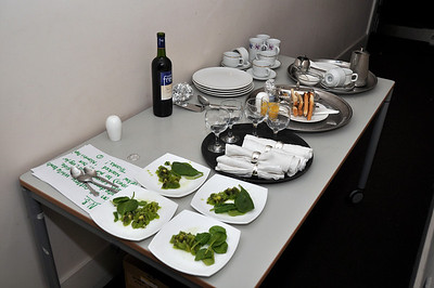 One of the many complicated table settings required for the play