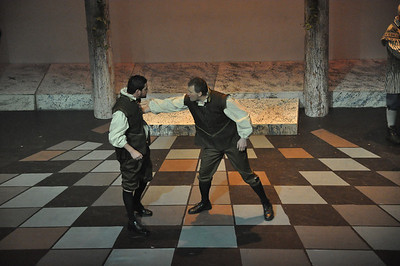 Jamie McLoughlin (left) playing Sampson and Francis Cahill (right) as Gregory.