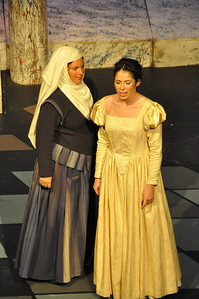 The Nurse played by Hilary Madigan with Juliet played by Eilis O'Brien
