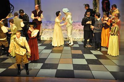 Tybalt (Mark Phelan) watched by Lady Capulet (Joanne Keane)
