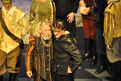 Brendan Dunne as Capulet with a masked Mercutio played by Gareth Murphy