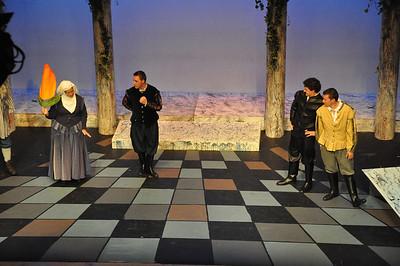 Nurse (Hilary Madigan), Romeo (Robert Hudson), Mercutio (Gareth Murphy) and Benvolio (Sean Murphy)