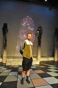 Sean T Daly on stage before a performance of Romeo and Juliet in the Mill Theatre. Sean played Friar John, Constable and a Citizen.