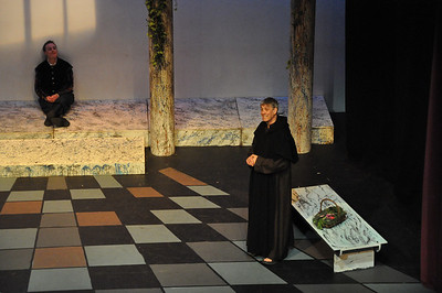 Romeo (left) played by Robert Hudson and Friar Lawrence (right) played by Michael Sharp