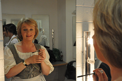 Orla Cooney in the dressing room before going on stage in the Mill Theatre. She played a Citizen and Dancer in 'Romeo and Juliet'