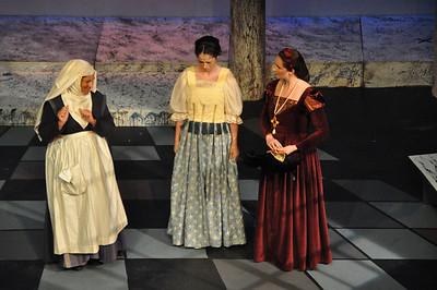 The Nurse (Hilary Madigan), Juliet (Eilis O'Brien) and Lady Capulet (Joanne Keane)