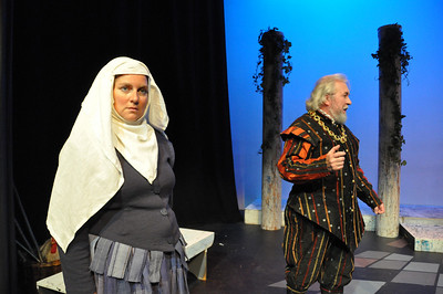 Hilary Madigan as the Nurse and Brendan Dunne as Capulet in the Mill Theatre