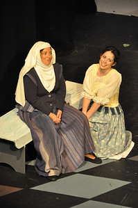 The Nurse played by Hilary Madigan with Juliet played by Eilis O'Brien in the Mill Theatre