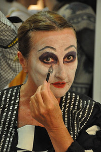 Muriel Caslin O'Hagan in the dressing room before going on stage in the Mill Theatre. Muriel's dramatic makeup was for her role as Chorus in Romeo and Juliet.