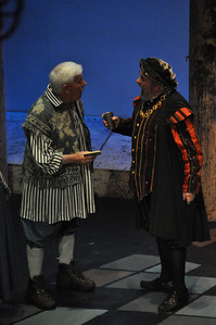 Peter played by Tony McGettigan (left) and Capulet played by Brendan Dunne (right)
