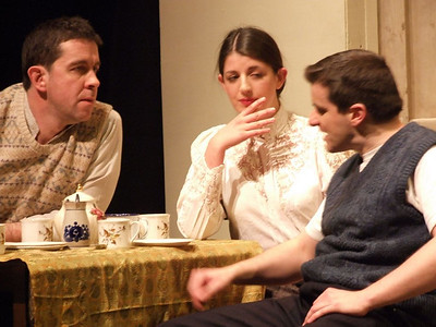 Robert Webster as 'Jack Clitheroe', Aoife King as 'Nora Clitheroe' and Oran O'Rua as 'The Covey'.
