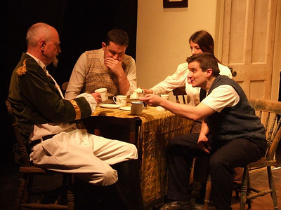Peter Flood as 'Peter', Robert Webster as 'Jack Clitheroe', Aoife King as 'Nora Clitheroe' and Oran O'Rua as 'The Covey'.