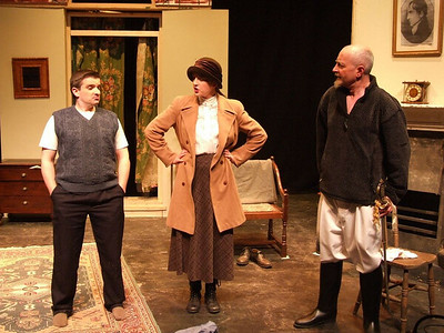 Oran O'Rua as 'The Covey', Aoife King as 'Nora Clitheroe' and Peter Flood as 'Peter'.