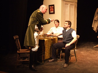 Peter Flood as 'Peter', Aoife King as 'Nora Clitheroe' and Oran O'Rua as 'The Covey'.