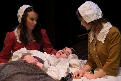 Aoibhinn Ní Fhionnagáin (Abigail Williams), Aishling Ní Fhoghlú (Betty Parris) and Aideen Ahern (Mercy Lewis)