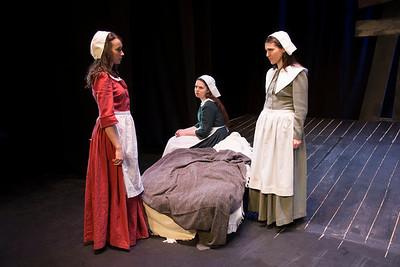 Aoibhinn Ní Fhionnagáin (Abigail Williams), Jessica Checkley (Susanna Walcott) and Máirín Condon (Mary Warren)