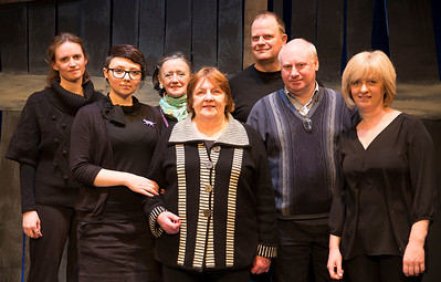 Some members of the Crew just before the final show: [back row] Aoife Braiden (Stage Manager), Teresa Dempsey (Make-Up), Michael Kennedy (Production Manager). [front row] Katerzyme Horzela (Props), Doris Cullen (Props), Paul Macken (Lighting) and Orla Cooney (Wardrobe Assistant).