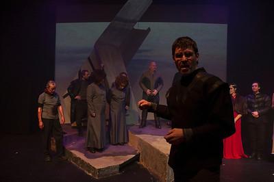 Declan Brennan firing a test shot for the cast photograph.