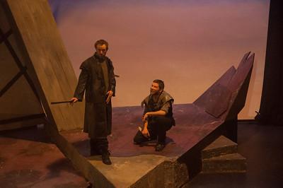 Fight Scene rehearsal: l-r Steve Gunn (Macduff) and Bob Kelly (Macbeth).