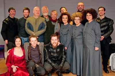 Director, Geoff O'Keeffe, with most of the cast just before they went on stage for the final performance of 'Macbeth' on Sat 9 February 2013. Back Row (l-r) Declan Brennan, Bob Kelly, Tom Ronayne, Steve Gunn, Geoff O'Keeffe, Kevin Shackleton. Middle Row (l-r) Brian Molloy, Pat O'Grady, Muriel Caslin-O'Hagan, Anne Mekitarian, Hilary Madigan. Front Row (l-r) Hilda Fay, Kyle Hixon, Finbarr Doyle.