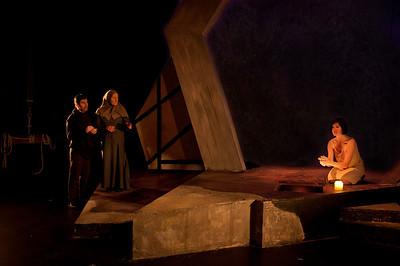 Act 5 Scene 3: l-r Declan Brennan (Doctor), Muriel Caslin-O'Hagan (Gentlewoman) and Hilda Fay (Lady Macbeth).