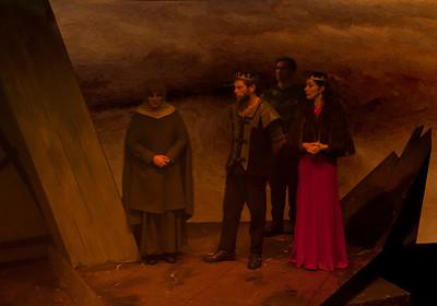 l-r Hilary Madigan (Servant), Bob Kelly (Macbeth), Kevin Shackleton (Ross) and Hilda Fay (Lady Macbeth).