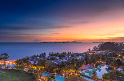 Wonderful twilight time at tropical beach resort in Rayong, Thailand
