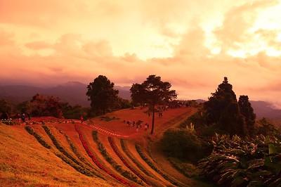 Sunrise over mountain range