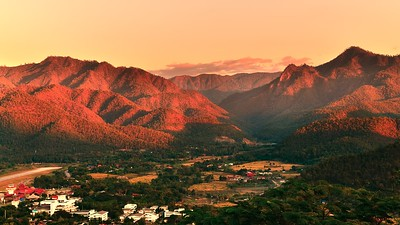 Sunset over mountain range in Mae Hong Son