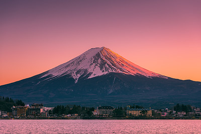Last light on Mount Fuji and Lake Kawaguchi