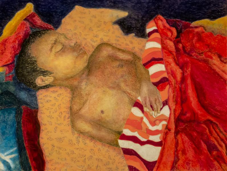 Yaqub Sleeping, Red Blanket