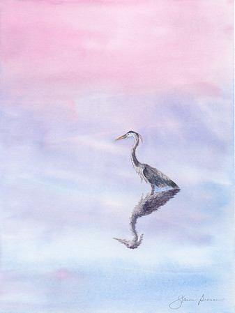 "Great Blue Heron at Sunset - Watercolor 8.5"" x 11"""