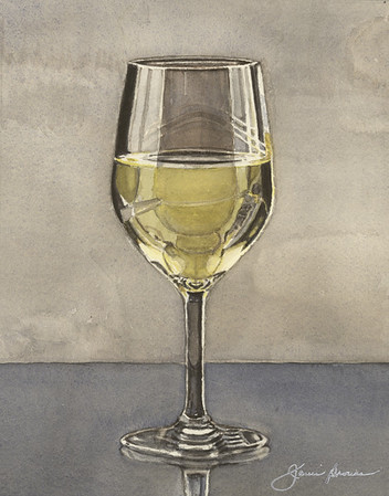 "Glass of Wine - Watercolor 7"" x 9"""