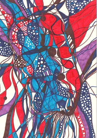 """Untitled"" 5 5/8"" x 4"" marker on paper  drawing by: Elizabeth Christopher © 2012"