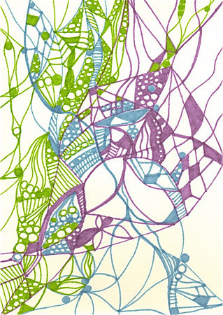 """Bubbles Rise"" 5.5"" x 4"" marker on paper  drawing by: Elizabeth Christopher © 2012"