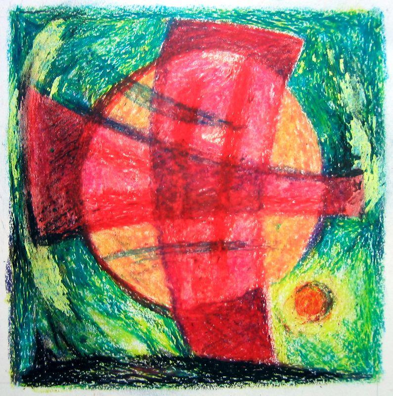 Circle & Cross # (oil pastel)
