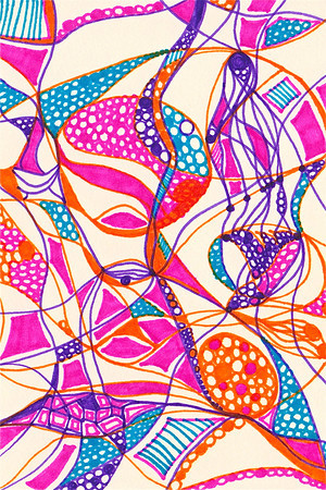 """Pirouette"" 5 5/8"" x 4"" marker on paper  drawing by: Elizabeth Christopher © 2012"