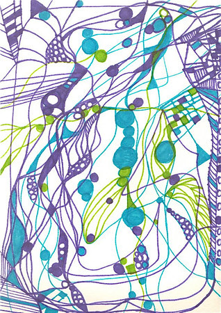 """Serenade"" 5.5"" x 4"" marker on paper  drawing by: Elizabeth Christopher © 2012"