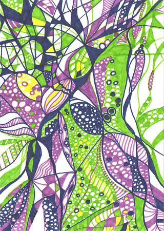 """Irises"" 5 5/8"" x 4"" marker on paper  drawing by: Elizabeth Christopher © 2012"