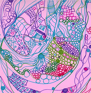 """Love's Heart Beats"" (detail) 12"" x 12"" marker on paper  drawing by: Elizabeth Christopher © 2012"