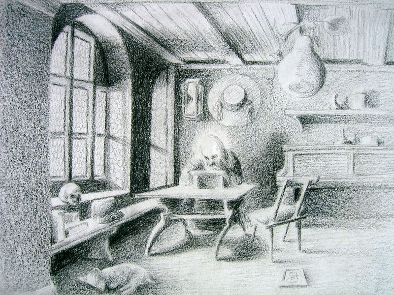 Interior series 8, after Durer (colored pencil)