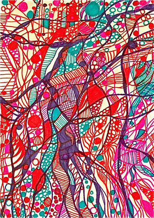 """Pulse"" 5.5"" x 4"" marker on paper  drawing by: Elizabeth Christopher © 2012"