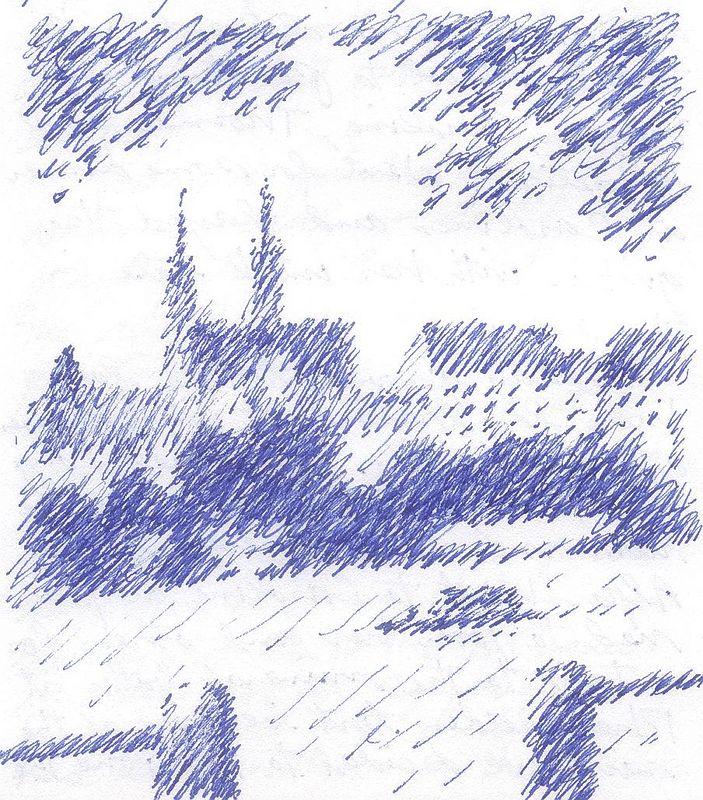 Basel from Rhein (pen & ink)