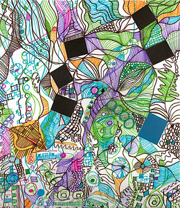 """Mapping"" (detail) 12"" x12"" paper and marker on paper  drawing/collage by: Elizabeth Christopher © 2012"