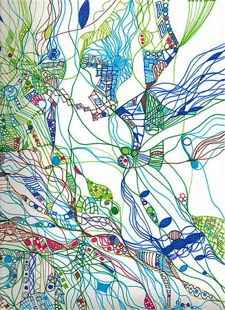 """Inspiration"" (detail) 12"" x 12"" marker on paper  drawing by: Elizabeth Christopher © 2012"