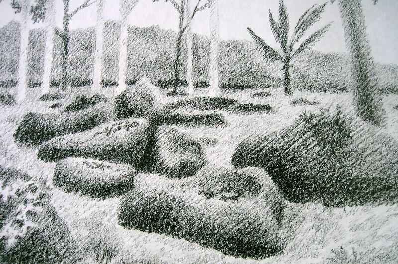 Kukaniloko-Birthing Stones (wax crayon)