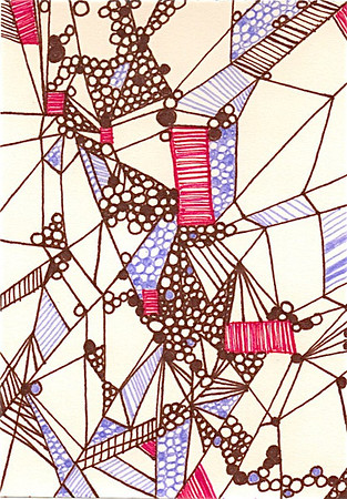 """Into the Core"" 5.5"" x 4"" marker on paper  drawing by: Elizabeth Christopher © 2012"