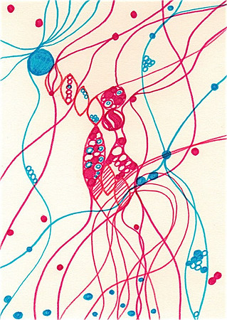 """Whimsy"" 5.5"" x 4"" marker on paper  drawing by: Elizabeth Christopher © 2012"